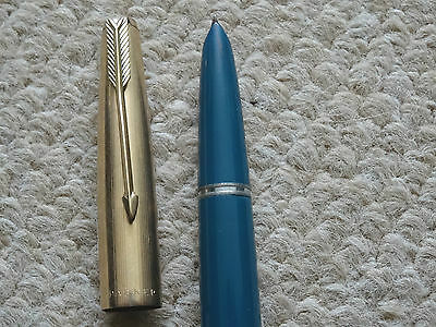 Vintage Parker 51 Fountain Pen, Teal Blue, Rolled Gold, Gold Nib, Jewel Missing