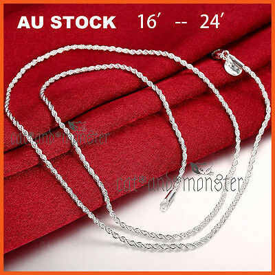 STERLING SILVER Filled WOMENS GIRLS KIDS ROPE CHAIN NECKLACE for pendant 16-24''