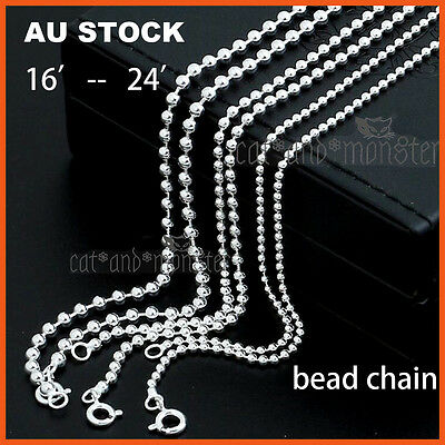 STERLING SILVER Filled WOMENS GIRLS KIDS BEAD CHAIN NECKLACE for pendant 16-24''