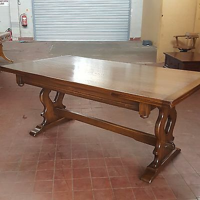 BEVAN FUNNELL REPRODUX LARGE (273cm wide) EXTENDING OAK REFECTORY DINNING TABLE