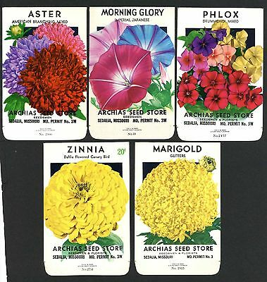 Set of 5 Different Vintage Seed Packets, Country Store, Sedalia, Missouri 167