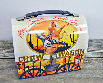 Roy Rogers Dale Evans Chow Wagon Lunch Box Tin Domed