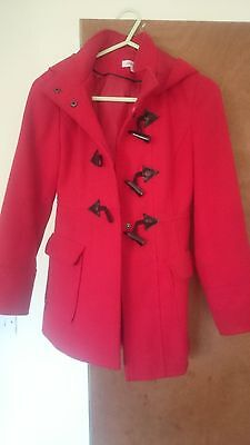 Girls smart red hooded coat aged 9/10