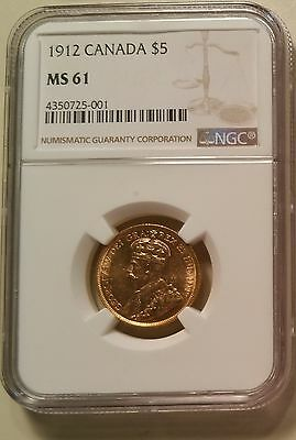 1912 Canada Gold $5 George V NGC MS61