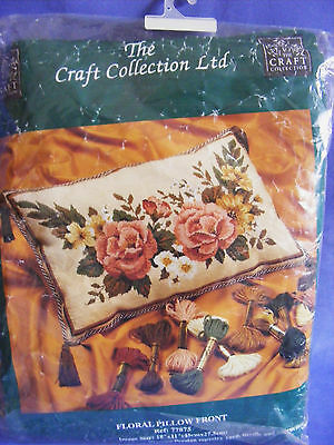 The Craft Collection Tapestry Kit, Floral Pillow Front  Unused