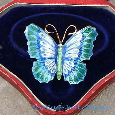 Antique Chinese Export Gold Gilt Multi Color Enamel Butterfly Design Pin #2