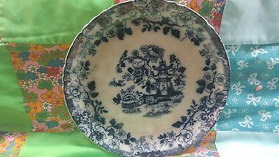 Beautiful Very Rare Antique Flow Blue Dinner Plate Indiana Gtm 1888-98