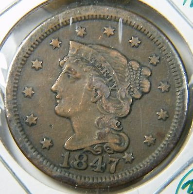 1847 Braided Hair Large Cent Very Fine