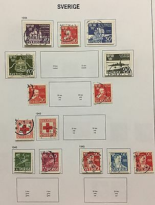 Sverige Sweden 1944/45 Lot Of 14 Perf & Imperf Used Look At The Picture