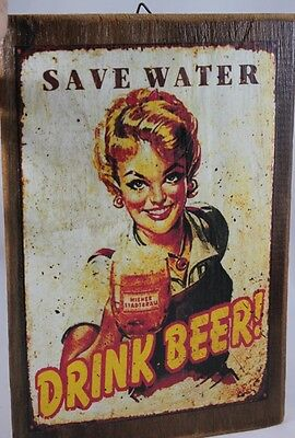 Drink Beer Sign Old Wooden Frame Wall Hanging Vintage Woman Cafe Shop Lady Party