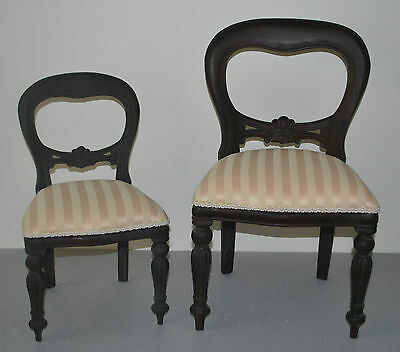 COLLECTORS DOLLS & TEDDIES VICTORIAN STYLE BALLOON BACK CHAIR.  SMALL or LARGE