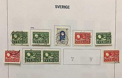 Sverige Sweden 1949 Lot Of 9 Perf & Imperf Used Look At The Picture