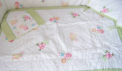 Pottery Barn Kids Pink Green Floral Madeline Crib Quilt