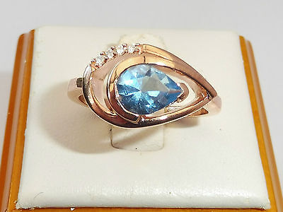 Ladies 18 Ct Rose Gold on Sterling 925 Silver 1.5 CT Blue Topaz & Sapphire Ring