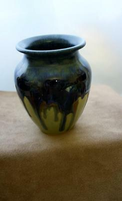 Studio Pottery Handpainted Signed Small Vase Blues Browns