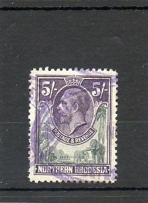 Sg 14 Northern Rhodesia 5/- Used Cat £20 - Revenue Stamp Cancel-