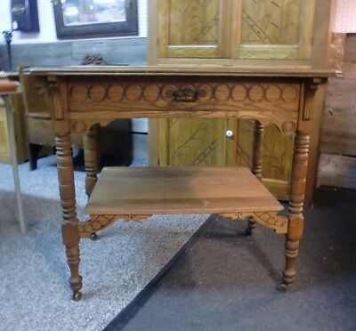 Victorian Carved Oak Library Table Loop and Pinned Drawer and Stretcher Base