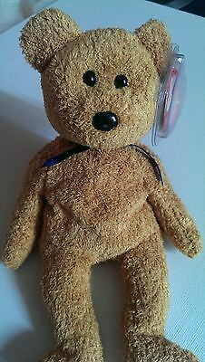 RARE TY Beanie Babies Fuzz the Brown Bear - WITH ERRORS - Retired