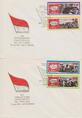 DDR FDC 1258 - 1261 auf 2 FDCs mit SST Berlin SED 22.03.1967, first day cover