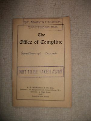 Vintage St Mary's Church Sprotbrough Office Of Compline Local Family History