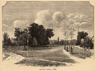 Greater London, Ealing Green, 1890s antique engraving ready mounted SUPERB