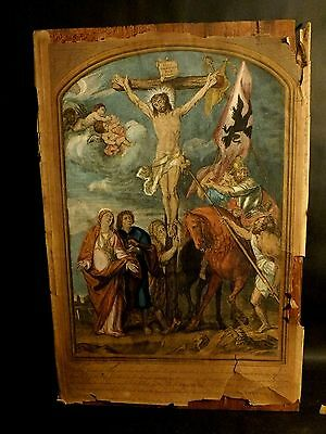 Mid 18th C Hand Coloured Line Engraving of the Crucifixion mounted on Panel