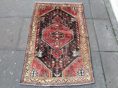 Old Traditional Persian Rug Wool Blue Red Oriental Hand Made Small Rug 138x90cm