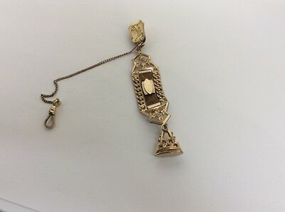 gold filled watch fob chain with seal