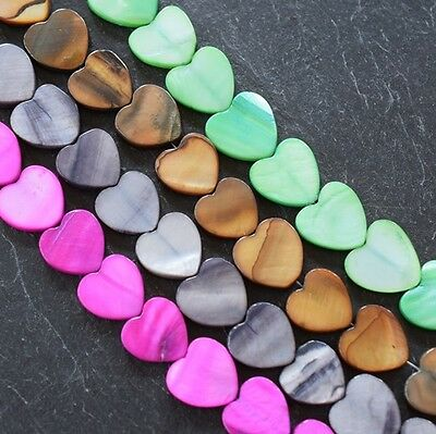 Shell Heart Shaped Beads In Various Colours