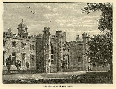 Rugby, the School from Close, antique engraving 1880s