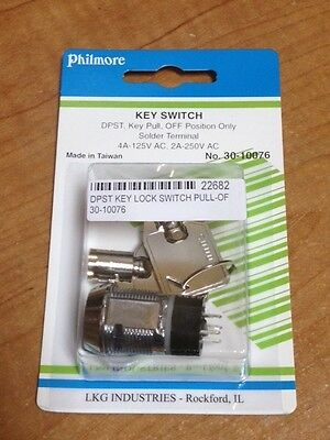 Round Lock DPST Key Switch - Key Pull, Off Position Only - Philmore 30-10076