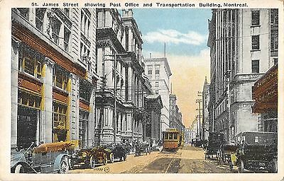 BR45637 St James street showing post office Montreal tramway canada 1