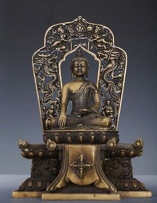 Elegant Rare Heavy Old Chinese Bronze Buddha Seated Statue Quality NA254