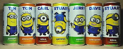 Despicable Me Minions full set of 7 soda cans 330 ml from Russia 2016