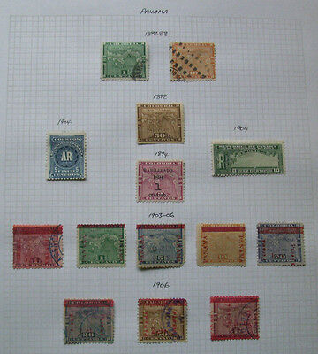 Old Album Page Of Early Panama Stamps 1887-1906