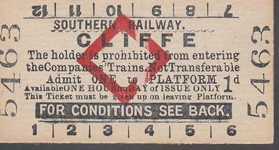 Southern Railway Red Diamond Platform Ticket CLIFFE 5463
