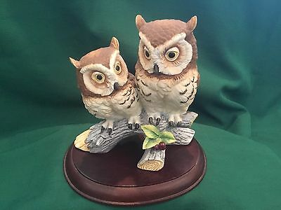 Andrea By Sadek  Double Owl Figurine #6307 Signed and Dated 2-21-83 with Base