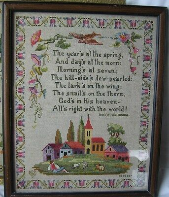 Antique 1917 Framed PF Volland Cross Stitch Print Americana Robert Browning