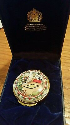 Rare-Halcyon Days Ennamels--Home For The Holidays-Enamel-Copper Trinket  Box-Mib