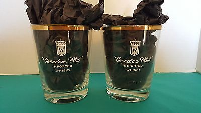 Canadian Club Imported Whisky Set of 2 Large Round Gold Rimmed Glasses