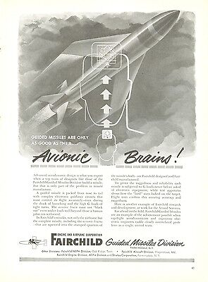 1950 Fairchild Aircraft Ad Guided Missiles Electric Circuits Avionic Brains