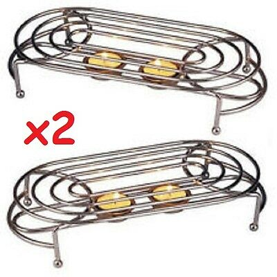 Food Warmer 2 X Double Chafing Chrome Plate Burner With 4 Tea Lights Foodwarmer