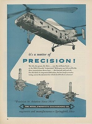 1953 Steel Products Ad Piasecki YH-21 Work Horse Helicopter Chopper