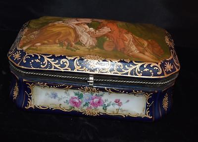 "Large Hinged Antique French Dresser Box or Jewelry Casket- Watteau Cover-11""L"