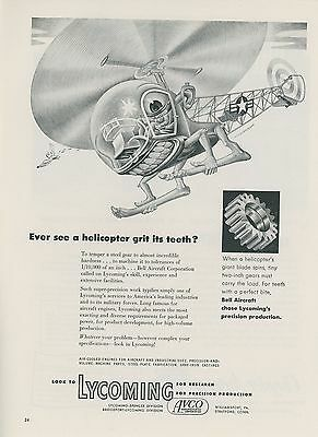 1952 Lycoming Gears Ad Aviation Helicopter by Artzybasheff Aircraft Bell