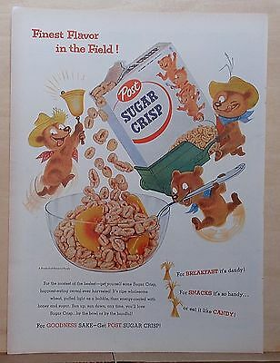 1955 magazine ad for Post Sugar Crisp Cereal - tiny bear farmers, Finest Flavor