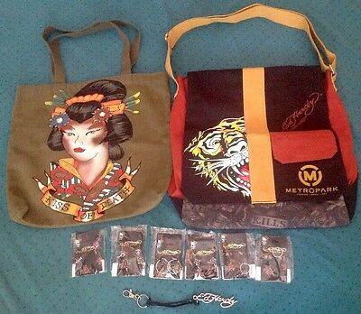 Authentic  Ed Hardy Messenger Bag~Reversible Tote~Jewelry~Keyring Lot New!