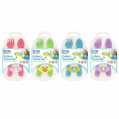Baby Fork and Spoon Cutlery Travel Feeding Set Boy Girl Toddler Case 6m+ fs366