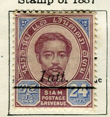 THAILAND;  1907-8 early surcharged issue fine Mint hinged 1a/24a. value