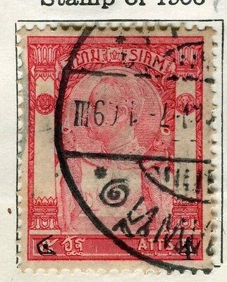 THAILAND;  1907-8 early surcharged issue fine used 4a/5a. value
